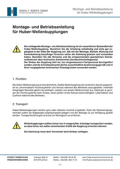 Montage- und Betriebsanleitung für Huber-Wellenkupplungen